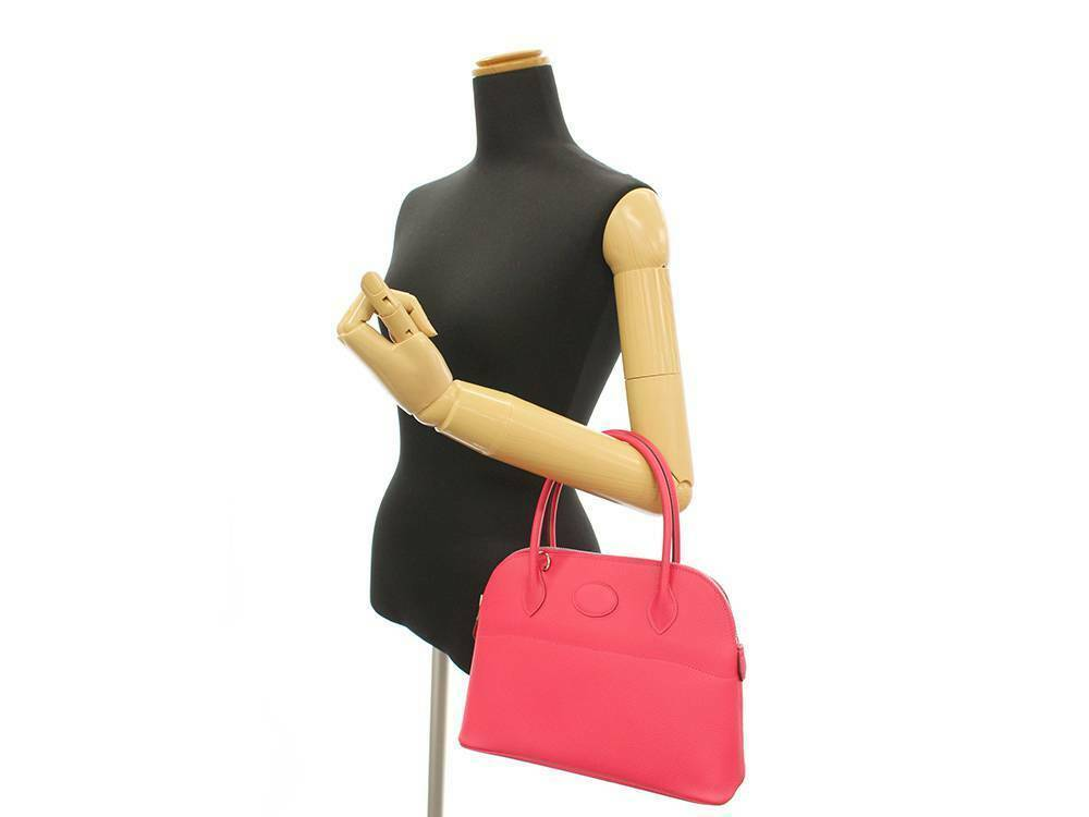 HERMES Bolide 27 Epsom Rose Extreme #D Handbag Shoulder Bag Authentic 5554645 image 11