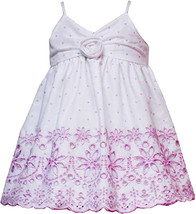 Rare Editions Baby Girl 3M-24M Pink Dot Print Embroidered Border Cotton Dress