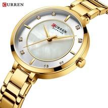 CURREN Ladies Watch Luxury Fashion Small Gold Watch Ladies Simple Quartz Waterpr - $41.49