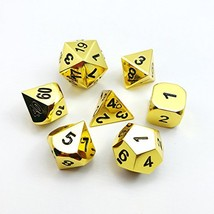 Set of 7 Deluxe Metal Golden Polyhedral Game Dice Set, Golden RPG Game D... - $13.72