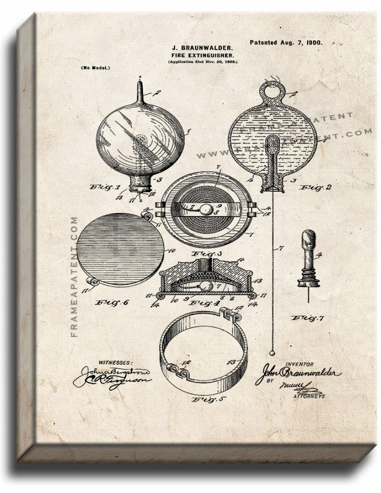 Primary image for Fire Extinguisher Patent Print Old Look on Canvas