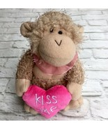 NEW Kiss Me Love Monkey Plush Embroidered Pink Heart Collar Stuffed Animal - $4.95