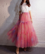 Rainbow Color Long Tulle Skirt Tiered Tutu Skirt Outfit Plus Size Layered Skirt  image 3
