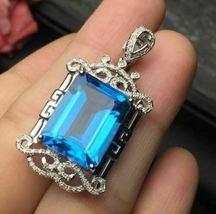 2.80 Ct Emerald Cut Blue Topaz Heart Fancy Pendant 14K White Gold Over  - $113.00