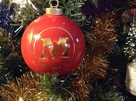 Letter M in Gold on Red Ceramic Monogram Ornament