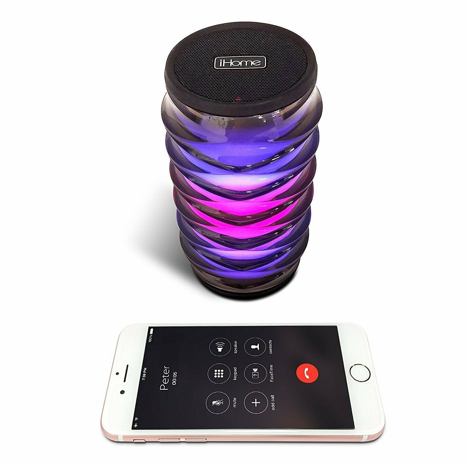 IHOME Color changing Bluetooth Rechargeable Speaker iBT76B