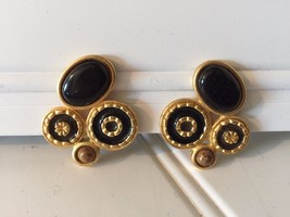 Vintage Black Enamel Goldtone Oversized Clip Earrings 1980's 20510 - $23.19