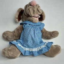 "Ganzbros Wrinkles Dog Plush Hand Puppet Brown Puppy in Blue Dress 14"" VT... - $19.80"