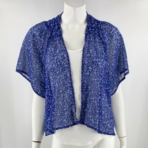 So Top Size Small Blue Floral Sheer Open Front Kimono Sleeve Blouse Womens - $13.86