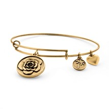 PalmBeach Jewelry Rose Charm Bangle Bracelet in Antique Gold Tone - $12.49