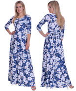 Stunning Summer Party Holiday Resort Cruise Maxi Dress Blue White Floral... - $49.00
