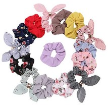 BuySoft 15Pcs Hair Scrunchies Chiffon Flowers Scrunchies Rabbit Ear Scru... - $11.44