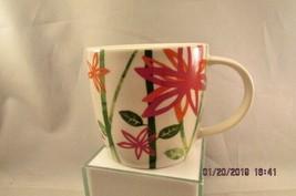 Starbucks Mug 2007 12 fl oz Coffee Tea Floral Stripes Barrel Shape green... - $9.49