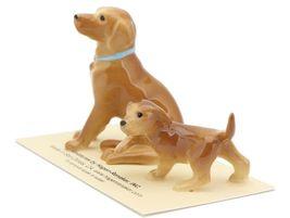 Hagen Renaker Dog & Puppy Labrador Retriever Golden Ceramic Figurine Set image 3