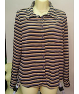 striped button down top womens size small long sleeve multi color shirt ... - $6.99