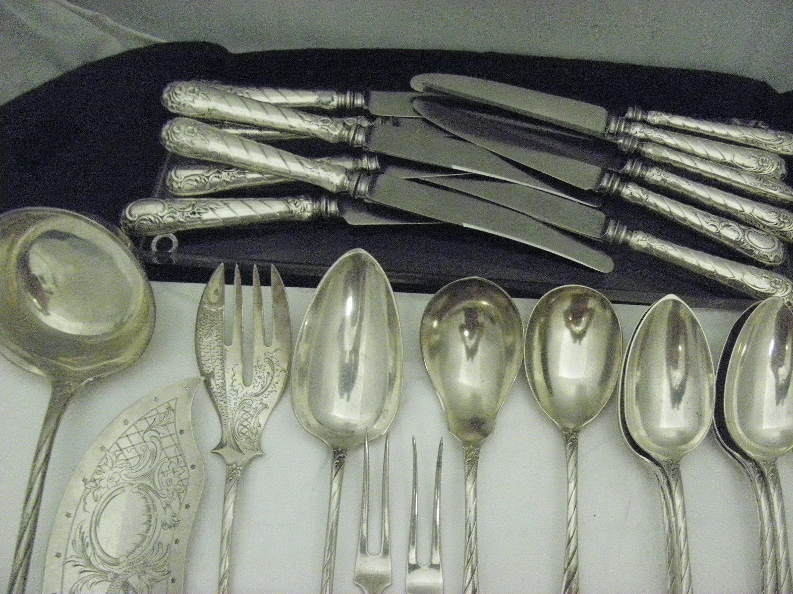 Antique Sheffield Germany 800 Sterling Silver Flatware Place for 6, 44pc Total.