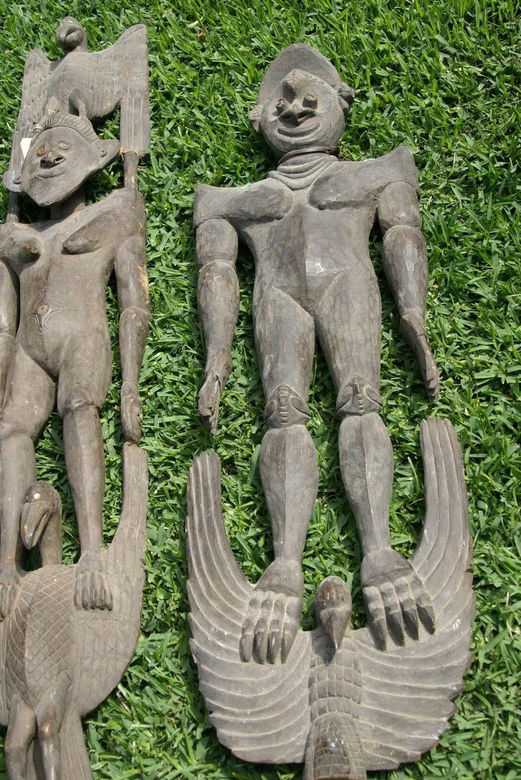 "Authentic Suspension Hook Carving Figure Iatmul Tribe Sepik 50"" Hand carved 30A2"