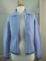 Express Jeans Knit Sweater Cardigan Light Blue Sz M 80% Wool 20% Nylon Z... - $29.65