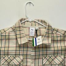 "Puma ""Big Sean"" Men's Heavy Cotton Shirt Ivory Green Plaid Medium - NWT - $61.35"