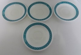 Corning Decor Milk Glass Autumn Bands Teal Leaves 4 Saucers Dinner Ware ... - $14.73