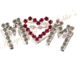 MOM Word Heart Pin Brooch Clear Red Austrian Crystal Prong Set Mother's Day - $16.99