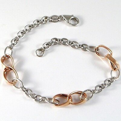 Bracelet White Gold Pink 18K 750, Circles, Ovals Wavy, Infinity, Italy Made