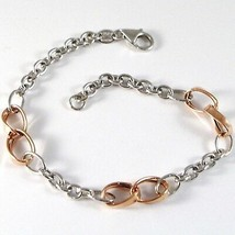 Bracelet White Gold Pink 18K 750, Circles, Ovals Wavy, Infinity, Italy Made - $511.66