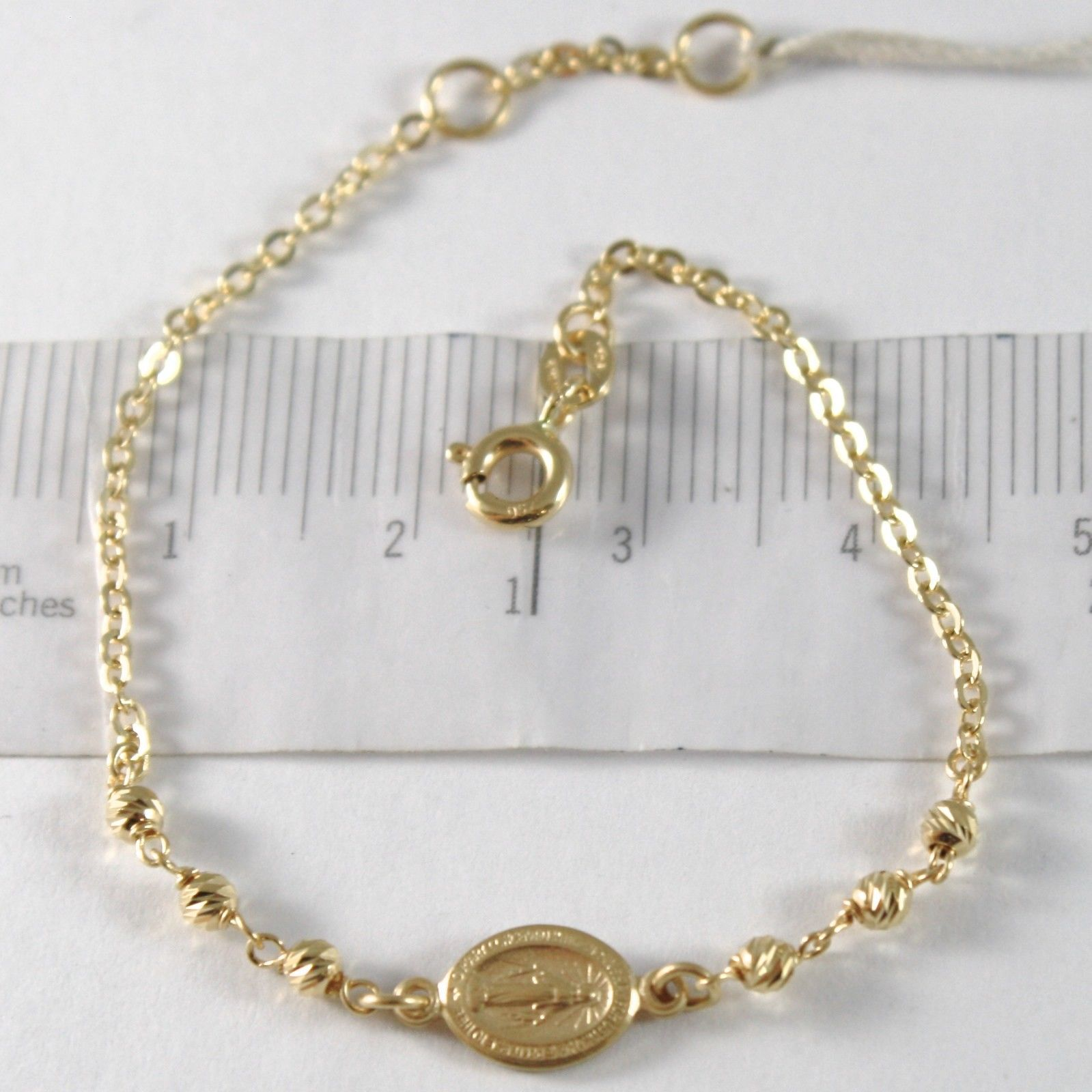 18K YELLOW GOLD BRACELET WITH MIRACULOUS MEDAL, BALLS, MADE IN ITALY, 5.9 INCHES