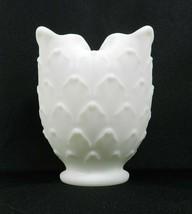"Vintage Imperial Vase White Milk Glass Artichoke Scale Ruffled Edges 5"" - $14.84"