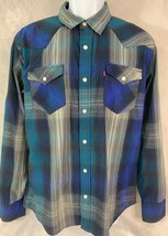 Levi's Men's size M Pearl Snap Blues Country Western Pocket Front Shirt - $15.88