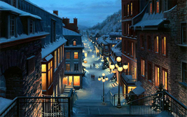 landscape painting Art oil painting printed on canvas home decor Snowy  - $26.99