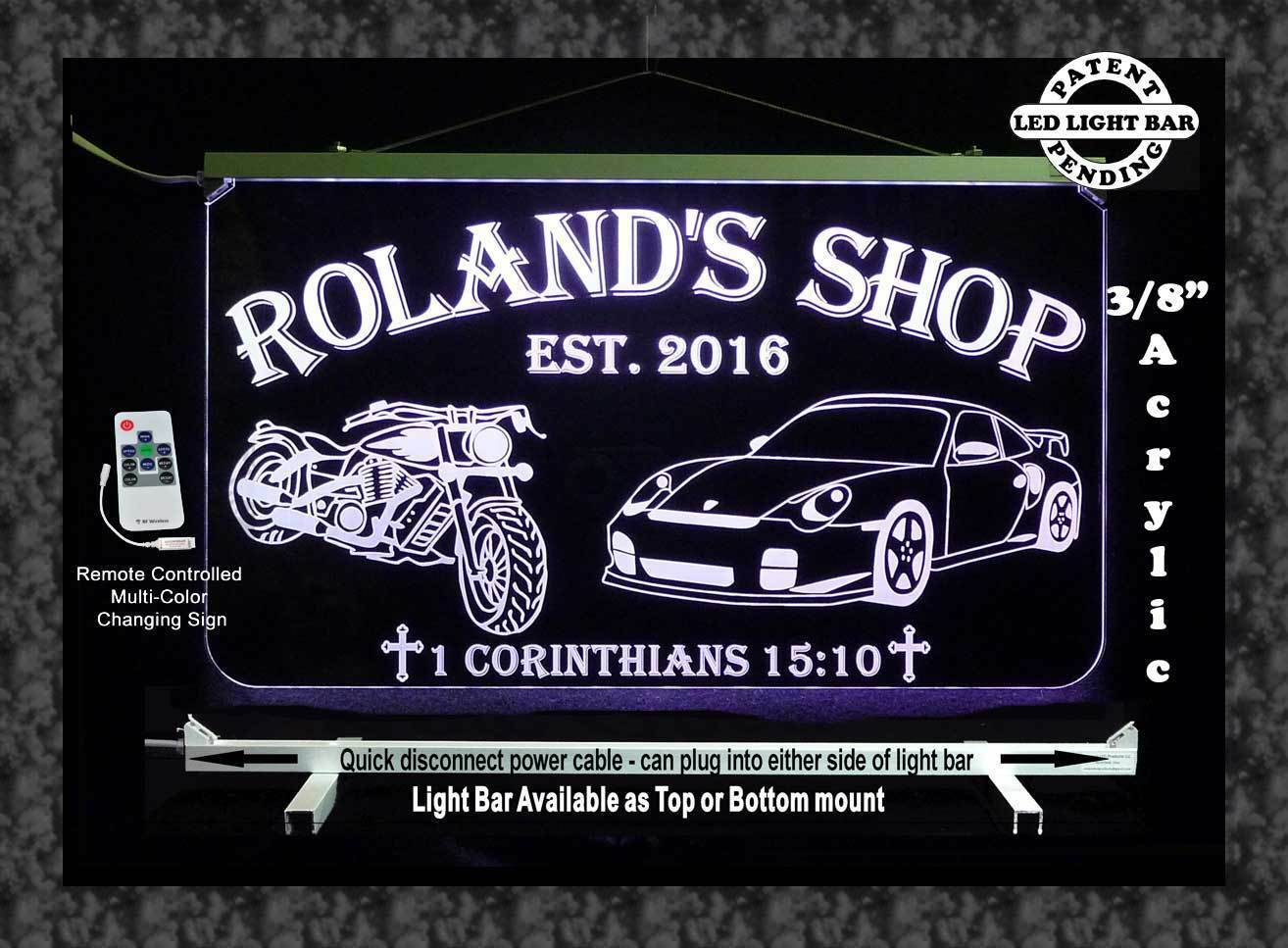 Personalized Motorcycle, Race Car LED Sign, Man Cave, Garage Sign, Gift for Dad