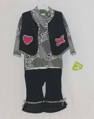 Snopea 3 Piece Outfit Vest Shirt Pants Black White Velour Size 18 Months