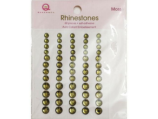 Queen & Co Self-Adhesive Rhinestones, Moss Green, 3 Sizes
