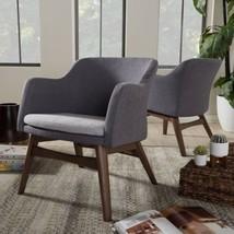 Baxton Studio Mid-Century Two-Tone Grey Fabric 2-Piece Lounge Chair Set - $433.20