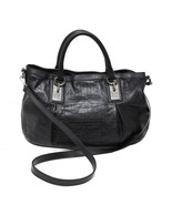 Auth Givenchy Black Soft Monogram Leather Satchel Shoulder Bag Silverton... - $299.20