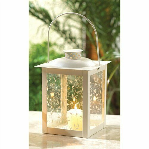 Curling Vine Large Ivory Metal Glass Candle Lantern image 2