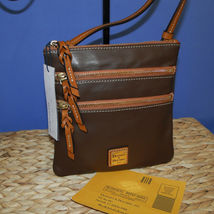 Dooney & Bourke Triple Zip Calf Leather Crossody NWT Brown image 6