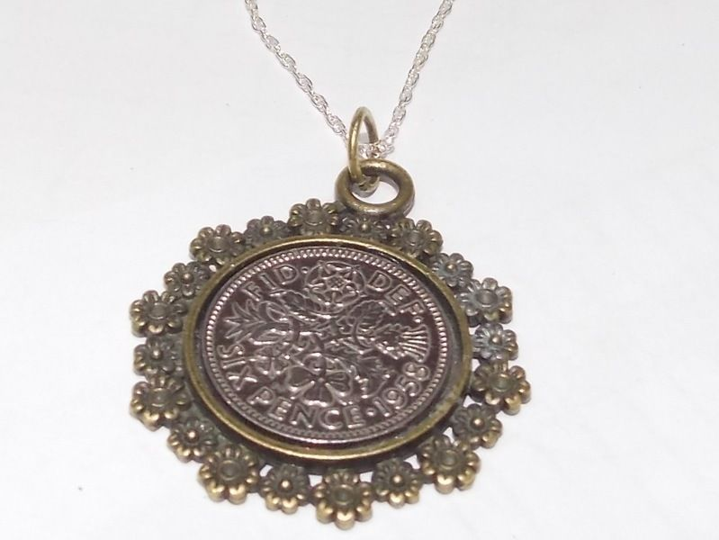 Jewelry & Watches Circle Pendant 1954 Lucky Sixpence 65th Birthday Ready To Hang