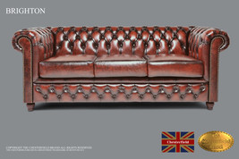 Original Chesterfield Brand Antique Brown Sofa-Real leather -Handmade - $4,108.00