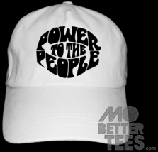 Power To The People White Dad Hat baseball cap Black Panther Party 70s 60s - $14.99