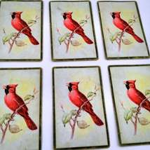 6 Cardinal Playing Cards for Crafting, Re-purpose, Up-cycle, Vintage Supplies, J image 4