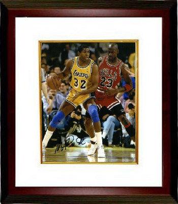 Primary image for Magic Johnson signed Los Angeles Lakers 8x10 Photo Custom Framed  (yellow jersey