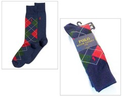 Polo Ralph Lauren Argyle and Solid Crew Socks 2-Pack, Navy - $12.47