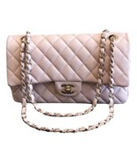 AUTH Chanel LIGHT PINK LAMBSKIN MEDIUM DOUBLE FLAP BAG LIGHT GOLDTONE HW - $3,999.99