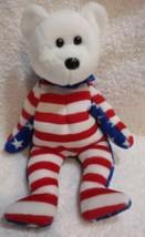 Ty Beanie Baby Liberty White Plush Bear White Head 2001 Patriotic - $14.84