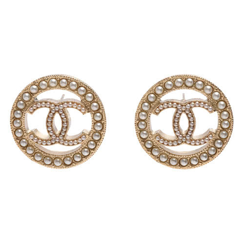 NEW AUTHENTIC CHANEL CC Gold ROUND PEARL Large Logo Stud Earrings RARE