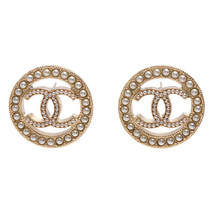 NEW AUTHENTIC CHANEL CC Gold ROUND PEARL Large Logo Stud Earrings RARE - $599.99