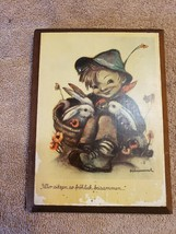 Wood Wall Art Plaque German Hummel Paper On Wood Child with Bunnies Rabbits - $12.86