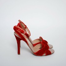 Valentino Slingback Sandals Red Velvet Party Stilettos Pumps Shoes EU 36... - $288.60